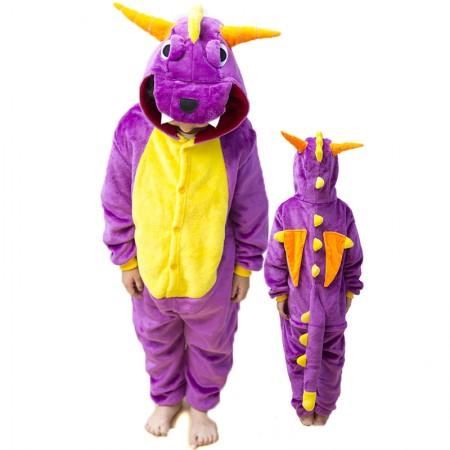 Kids Purple Dragon Costume Onesie Pajama Animal Outfit for Boys & Girls