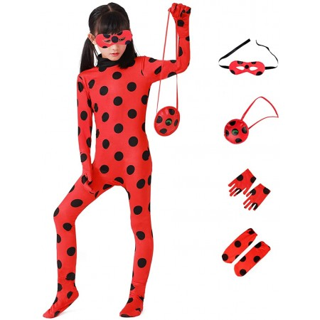 Miraculous Ladybug Costume Jumpsuit Halloween Outfit Cosplay Suit For Girls