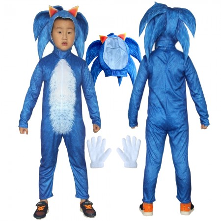 Sonic Costume Halloween Hedgehog Outfit Cosplay Suit For Kids