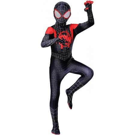 Boys Miles Morales Costume Spider Man Suit Cosplay For Kids
