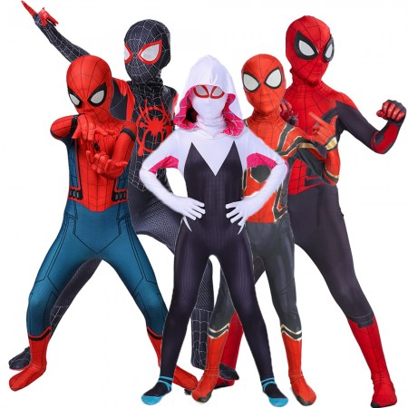 Boys Spider Man Costumes Miles Morales/Gwen/Far From Home/Venom Kids Spiderman Suit Cosplay