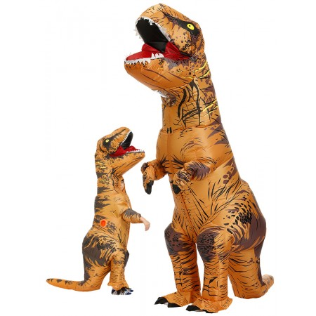 Inflatable T Rex Costume Halloween Funny Blow Up Dinosaur Costumes for Adult & Kids Brown