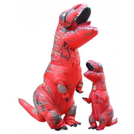 Inflatable Dinosaur Costume Halloween Funny Blow Up T Rex Costumes for Adult & Kids Red