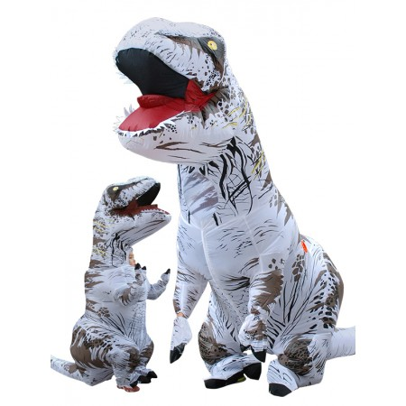 Inflatable Dinosaur Costume Halloween Funny Blow Up T Rex Costumes for Adult & Kids White