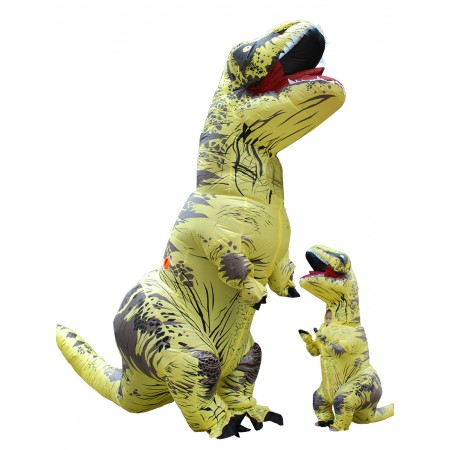 Inflatable Dinosaur Costume Halloween Funny Blow Up T Rex Costumes for Adult & Kids Yellow