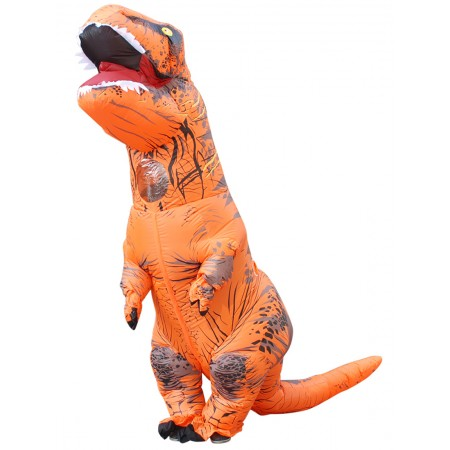 Inflatable Dinosaur Costume Halloween Funny Blow Up T Rex Costumes for Adult & Kids Orange