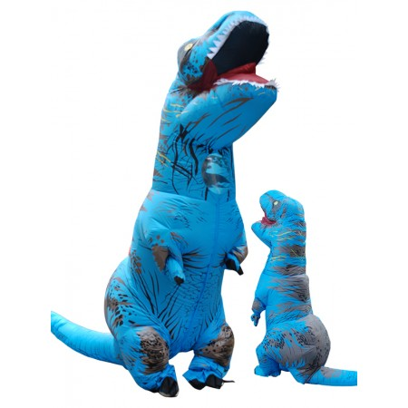 Inflatable Dinosaur Costume Halloween Funny Blow Up T Rex Costumes for Adult & Kids Blue