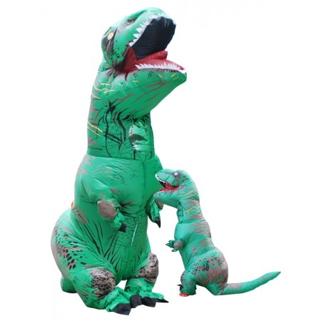 Inflatable Dinosaur Costume Halloween Funny Blow Up T Rex Costumes for Adult & Kids Green