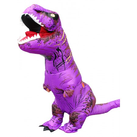 Inflatable Dinosaur Costume Halloween Funny Blow Up T Rex Costumes for Adult & Kids Purple