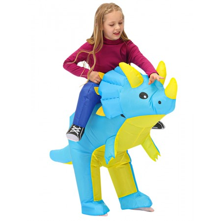 Kid Inflatable Dinosaur Ride On Costume Halloween Cosplay Party for Boys & Girls