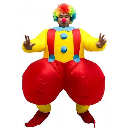 Inflatable Clown Costume Halloween Blow Up Funny Dress Outfit for Adult