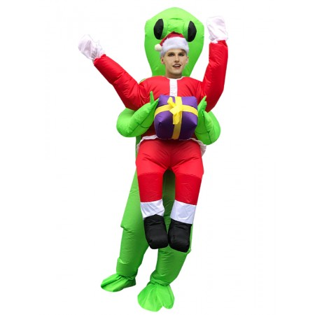 Inflatable Alien Carrying Costume Halloween Blow Up Alien Holding Person Costumes for Adult & Kids