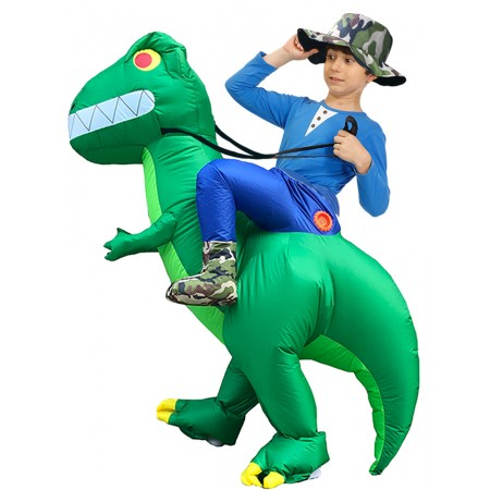 Kid Inflatable Dinosaur Costume Riding T Rex Blow up Deluxe Halloween Party Costumes