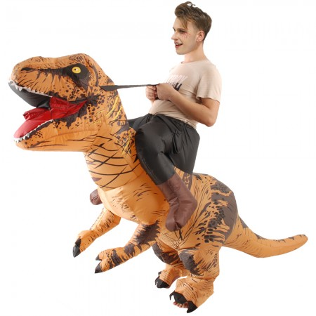 Inflatable Dinosaur Costume Riding T Rex Blow up Deluxe Halloween Costumes Brown