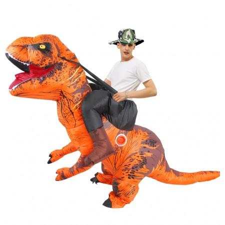 Inflatable Dinosaur Costume Riding T Rex Blow up Deluxe Halloween Costumes Orange
