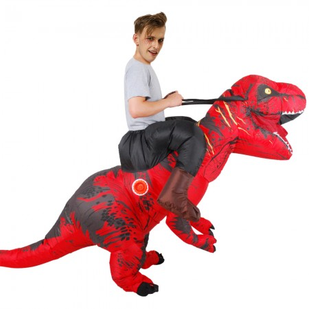 Inflatable Dinosaur Costume Riding T Rex Blow up Deluxe Halloween Costumes Red
