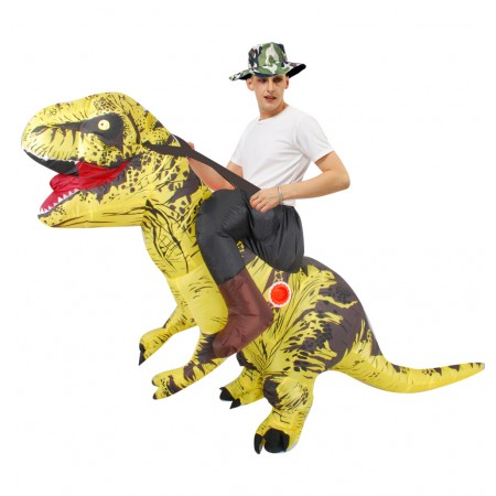 Inflatable Dinosaur Costume Riding T Rex Blow up Deluxe Halloween Costumes Yellow