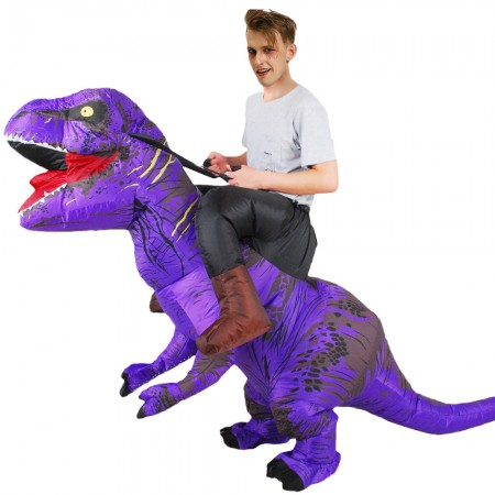 Inflatable Dinosaur Costume Riding T Rex Blow up Deluxe Halloween Costumes Purple