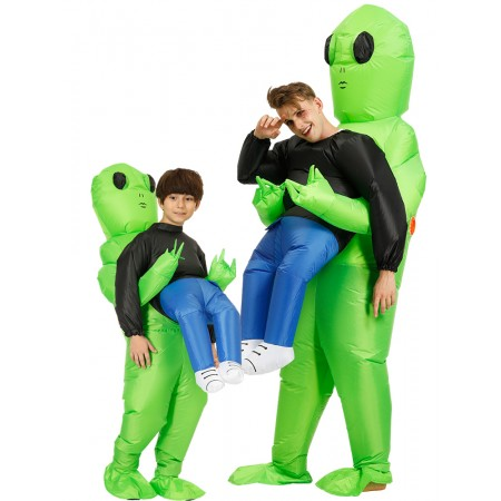 Alien Carrying Humaning Costume Halloween Blow Up Alien Holding Person Costumes for Adult & Kids