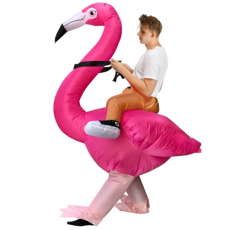 Adult Inflatable Flamingo Costume Blow Up Halloween Outfit Fancy Dress