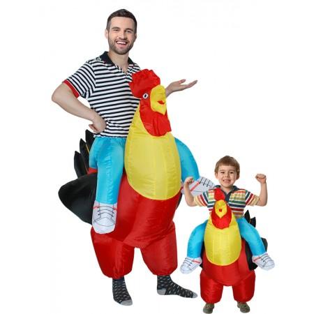 IInflatable Chicken Halloween Riding Costume for Adult & Kids Fancy Dress Suit