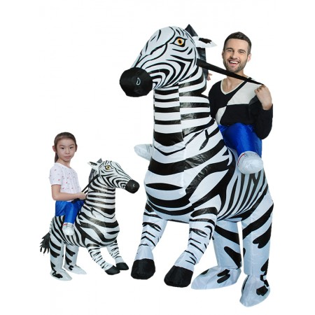 Inflatable Zebra Costume for Adult & Kids Halloween Blow Up Rid On Costumes