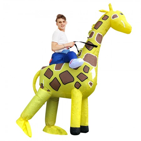 Inflatable Giraffe Costume for Adult & Kids Halloween Blow Up Rid On Costumes