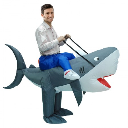 Inflatable Shark Costume for Adult & Kids Halloween Blow Up Ride On Costumes