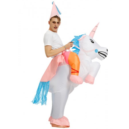 Inflatable Unicorn Costume Halloween Blow Up Ride On Funny Costumes For Adult & Kids