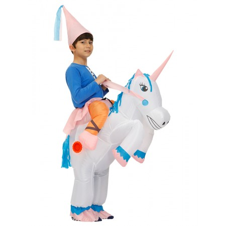Kids Inflatable Unicorn Costume Halloween Blow Up Ride On Funny Costumes