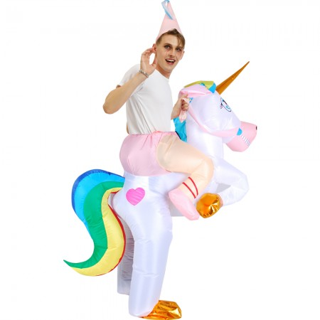 Blow Up Unicorn Costume Halloween Inflatable Ride On Funny Costumes For Adult & Kids