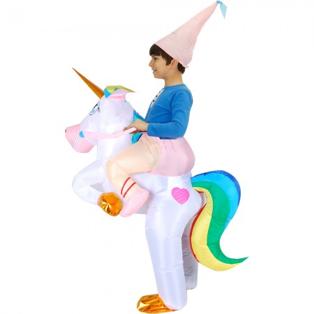 Kids Blow Up Unicorn Costume Halloween Inflatable Ride On Funny Costumes