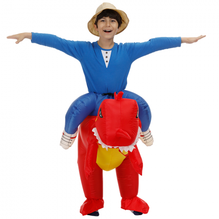 Kids Inflatable Red Dinosaur Costume Halloween Blow Up Ride On Funny Costumes