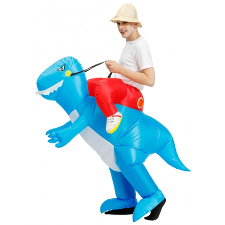 Inflatable Blue Dinosaur Costume Halloween Blow Up Ride On Funny Costumes For Adult & Kids