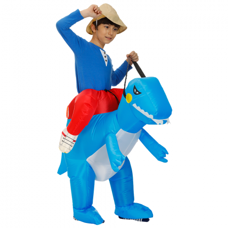 Kids Inflatable Blue Dinosaur Costume Halloween Blow Up Ride On Funny Costumes