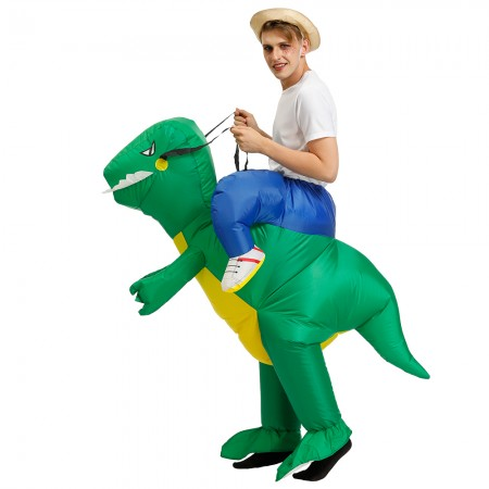 Inflatable Green Dinosaur Costume Halloween Blow Up Ride On Funny Costumes For Adult & Kids