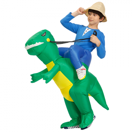 Kids Inflatable Green Dinosaur Costume Halloween Blow Up Ride On Funny Costumes