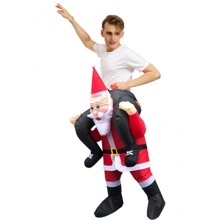 Ride On Inflatable Santa Claus Halloween Funny Costumes Outfit