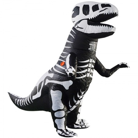 Inflatable Skeleton T Rex Costume Halloween Blow Up Dinosaur Outfit