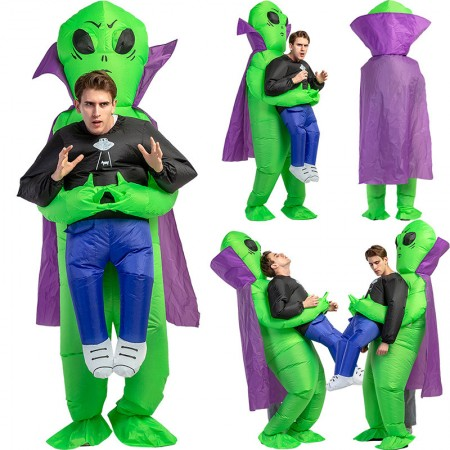Inflatable Alien Carring Me Costume Halloween Blow Up Outfit