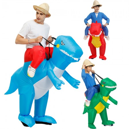 Adult & Kid Inflatable Dinosaur Ride On Costumes Halloween Blow Up Funny Outfit