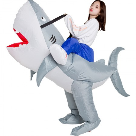 Inflatable Shark Costumes Halloween Blow Up Ride On Funny Outfit