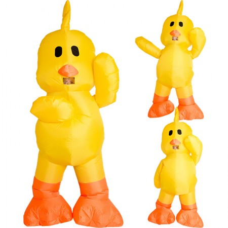 Inflatable Yellow Duck Costumes Halloween Blow Up Funny Outfit