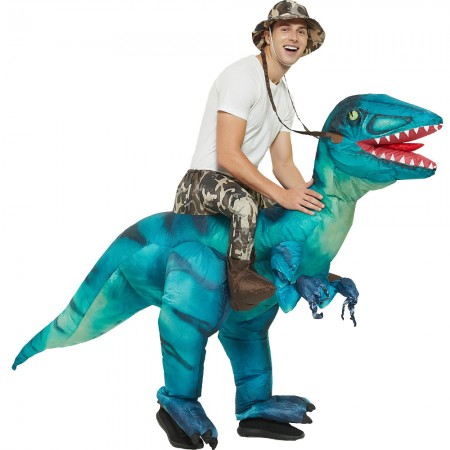 Ride On Blow Up Dinosaur Costumes Halloween Funny Outfit for Adult & Kids Green