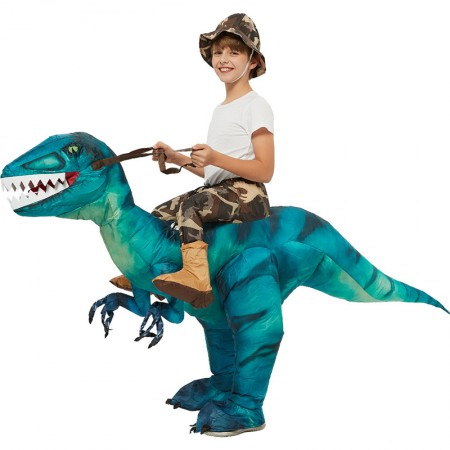 Kids Ride On Blow Up Dinosaur Costumes Halloween Funny Outfit Green